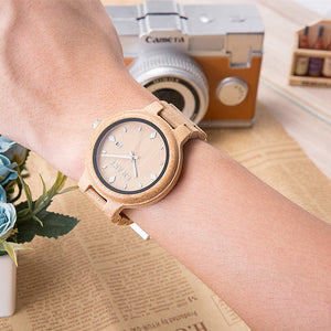 Handmade natural bamboo casual quartz Wristwatch  with Bracelet Clasp.