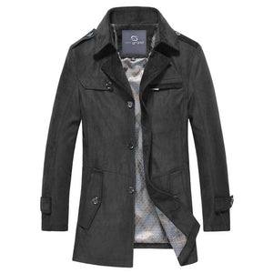 HEE GRAND Men's Casual Style, Turn-down Collar Wide-wausted Autumn Outwear Single Breasted Coat.
