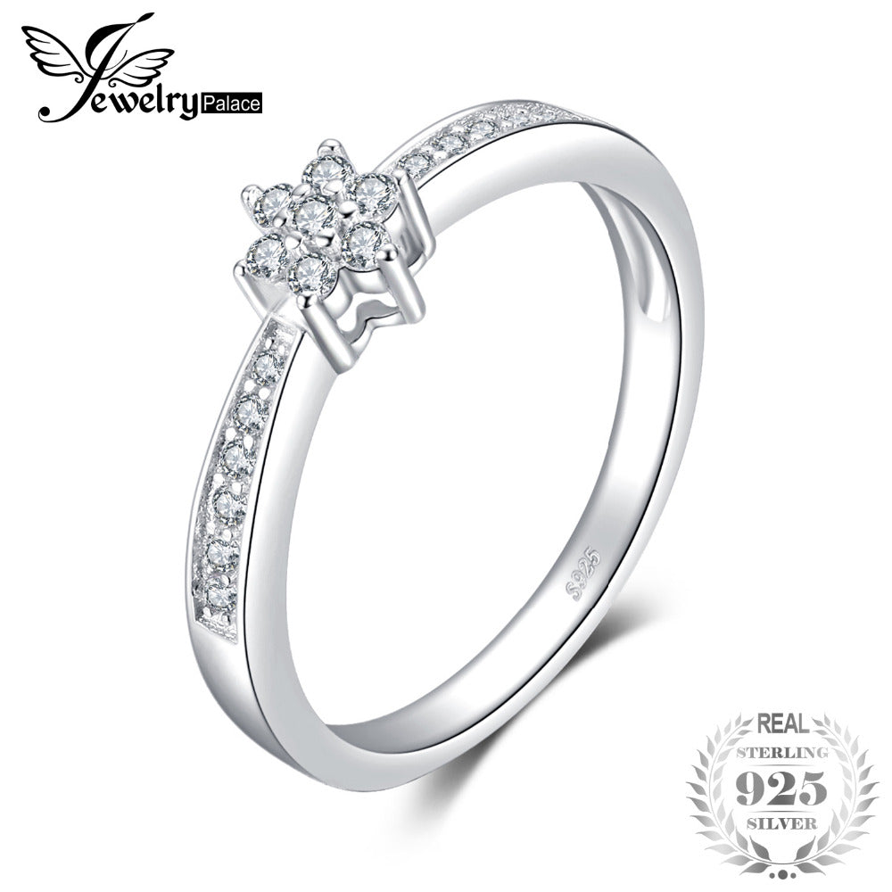 Classic Fashion Engagement Ring.  925 Sterling Silver.