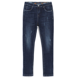 Pioneer Camp stretch solid jeans men brand-clothing straight denim pants male quality casual denim trousers dark blue.