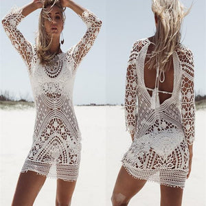 Cover up Halter Crochet Swimwear Sunscreen Lace  Hollow  Out dress  OneSize.