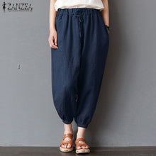 Vintage  Summer ZANZEA Women High Elastic Waist Harem Pants Casual Pockets loose Trousers Streetwear.