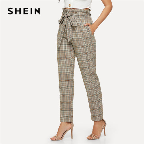 SHEIN Multicolor Elegant Minimalist Office Lady Workwear Vintage Belted Frill High Waist Plaid Pants Autumn Casual Trousers.