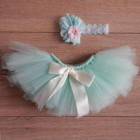 Newborn Baby Girls Tutu Outfit Skirt with Headband