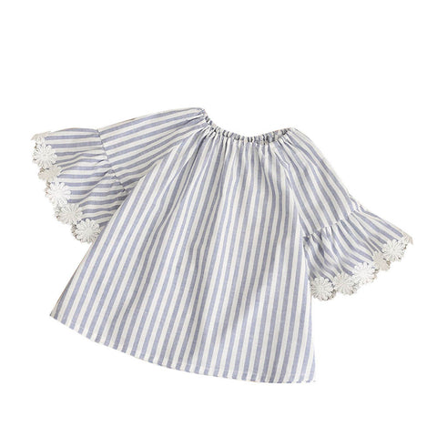 Summer Baby Girl Vintage Dress Striped Flare Sleeve Shirt
