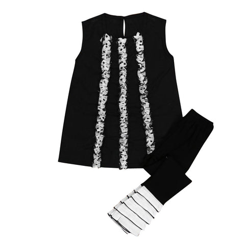 Summer Toddler Kids Baby Girls Long T-shirt Dress Tops + Ruffles Legging Tight pants Suit Clothes Set robe bapteme fille
