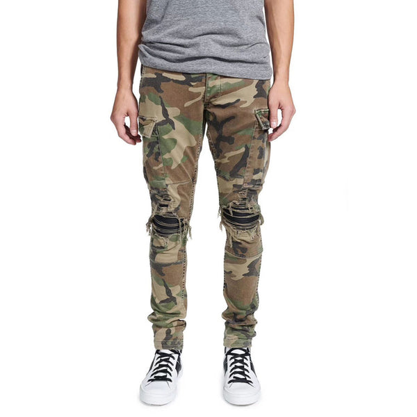 Camo Faux Leather Patchwork Ripped Jeans - Taelor Boutique