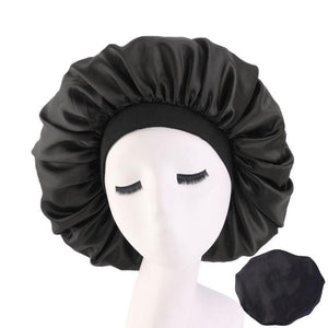 Black Extra Large Wide Band Silky Bonnet - Taelor Boutique
