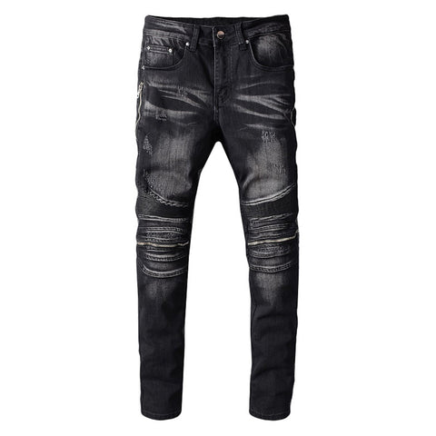 Black Zipper Knee Biker Jeans