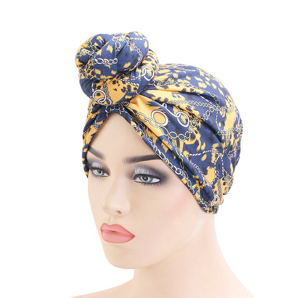 Blue Chains Knotted Twist Turban - Taelor Boutique