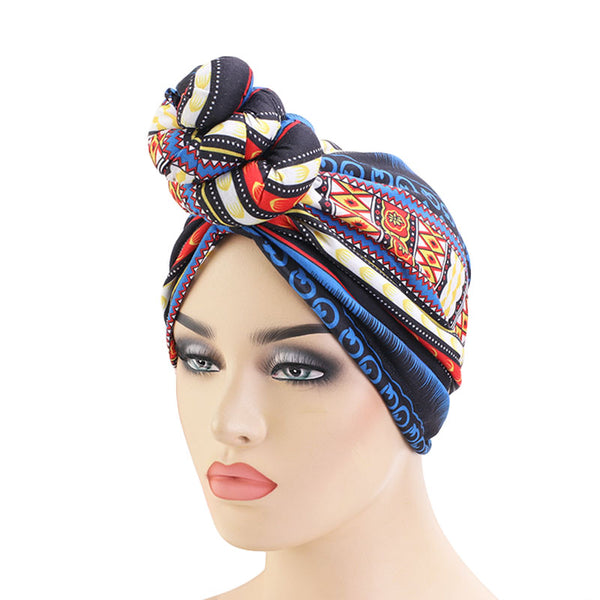 Geo Blue Knotted Twist Turban - Taelor Boutique