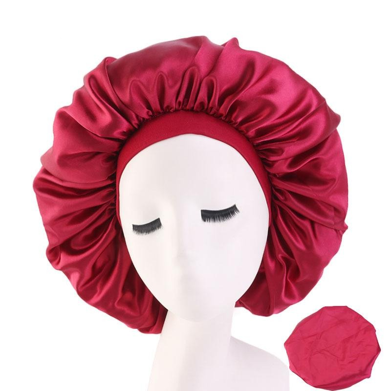 Wine Red Extra Large Wide Band Silky Bonnet - Taelor Boutique