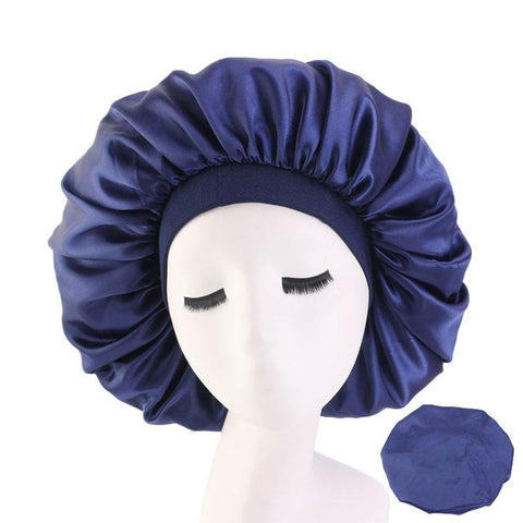 Blue Extra Large Wide Band Silky Bonnet - Taelor Boutique
