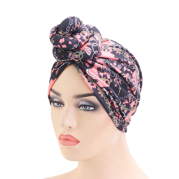 Pink Chains Knotted Twist Turban - Taelor Boutique
