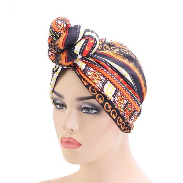 Geo Orange Knotted Twist Turban - Taelor Boutique