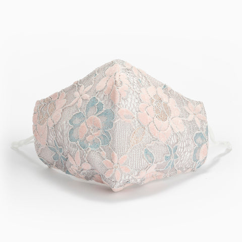 Pink & Blue Flower Luxury Lace Facemask