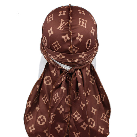Large Print Brown LV Designer Durag - Taelor Boutique