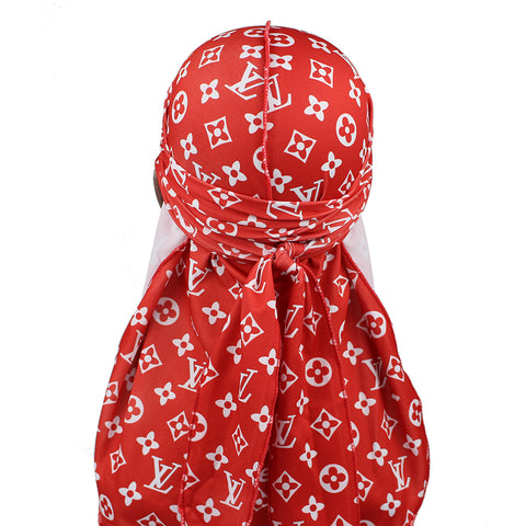 Red And White LV Designer Durag - Taelor Boutique