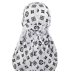 Black And White LV Designer Durag - Taelor Boutique
