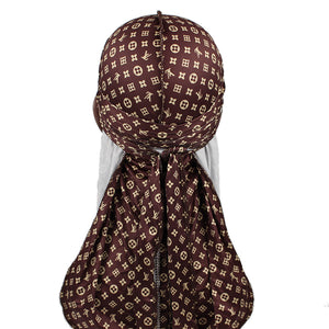 Small Print Brown LV Designer Durag - Taelor Boutique