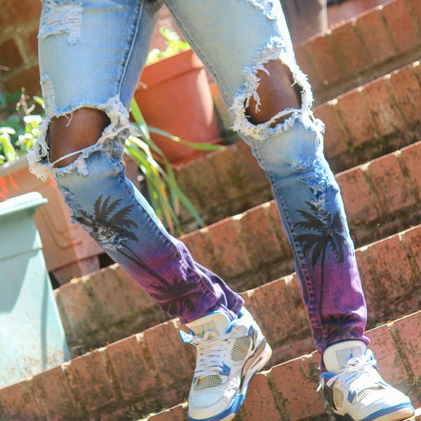 Light Blue Distressed Gradient Jeans - Taelor Boutique