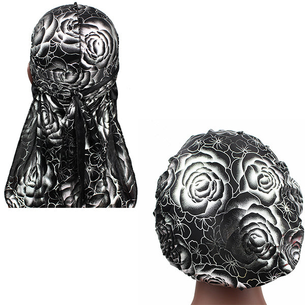 Black Silver Silky Rose Print Durag And Bonnet Set
