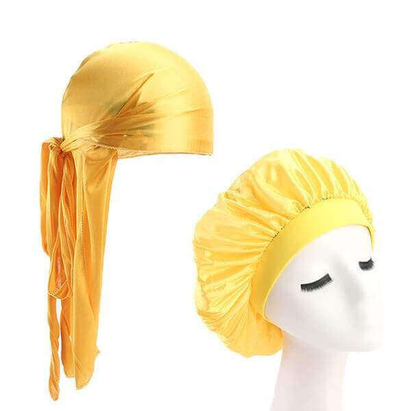 Yellow Silk Durag & Wide Band Bonnet Set - Taelor Boutique