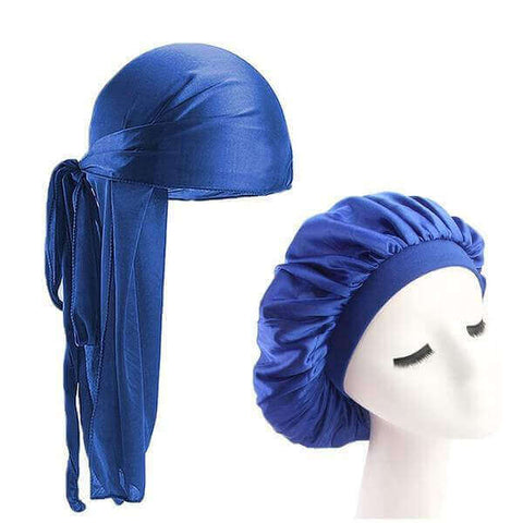 Blue Silk Durag & Wide Band Bonnet Set - Taelor Boutique