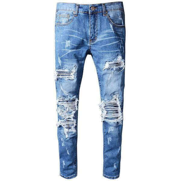 Blue Pleated Ripped Jeans - Taelor Boutique