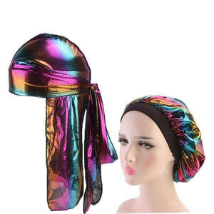 Multicolour #4 Shiny Silk Durag & Bonnet Set - Taelor Boutique