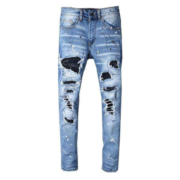 Blue Distressed Crystal Patchwork Jeans - Taelor Boutique