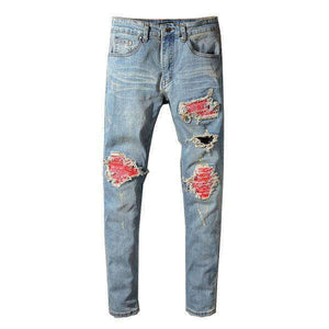 Blue Red Bandana Patchwork Jeans - Taelor Boutique