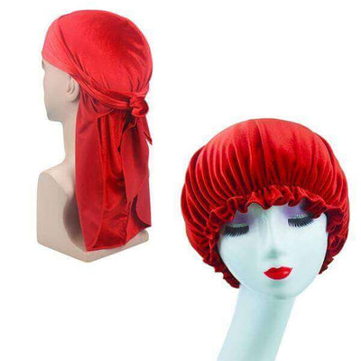 Red Velvet Durag & Bonnet Set - Taelor Boutique