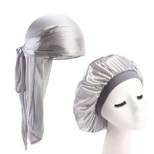 Silver Silk Durag & Wide Band Bonnet Set - Taelor Boutique