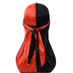 Orange & Black Two Tone Silky Durag - Taelor Boutique
