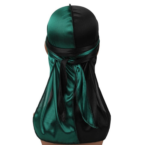 Dark Green & Black Two Tone Silky Durag - Taelor Boutique