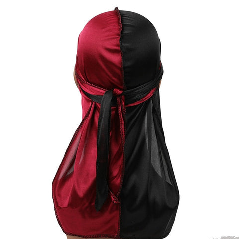 Burgundy & Black Two Tone Silky Durag - Taelor Boutique