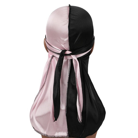 Pink & Black Two Tone Silky Durag - Taelor Boutique