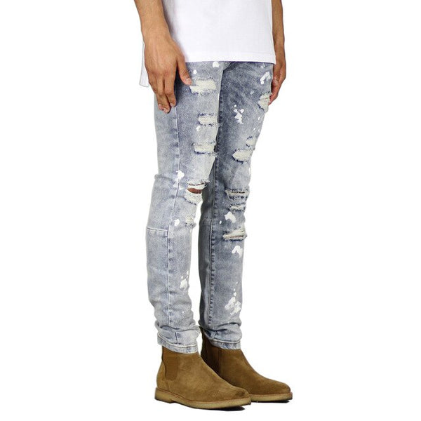 Blue Distressed Painted Jeans - Taelor Boutique