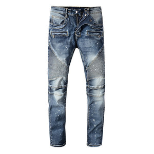 Blue Paint Splatter Extended Biker Jeans - Taelor Boutique