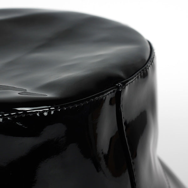 Black Shiny Faux Lather Bucket Hat - Taelor Boutique