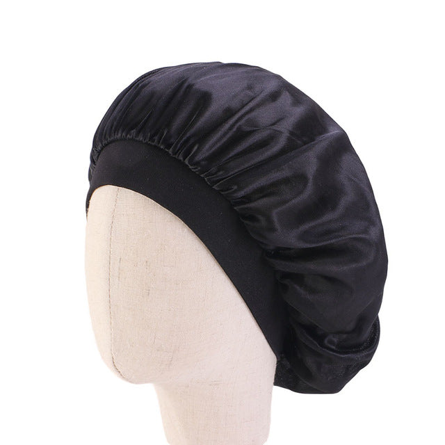 Black Kids Silky Wide Band Bonnet - Taelor Boutique