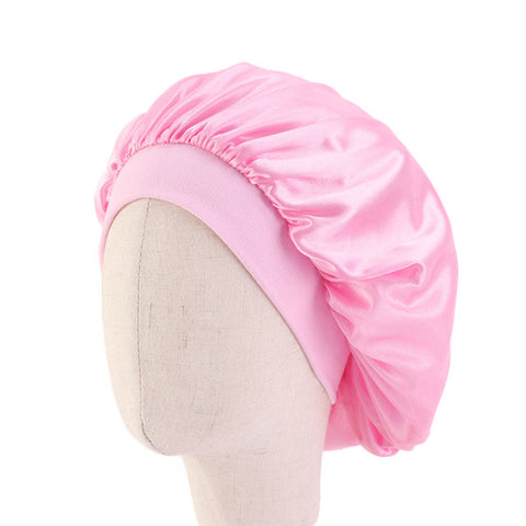 Pink Kids Silky Wide Band Bonnet - Taelor Boutique