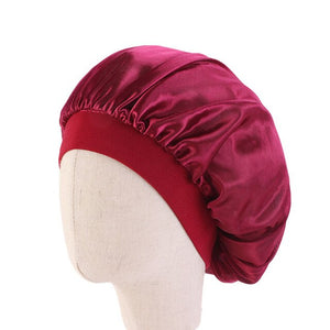 Burgundy Kids Silky Wide Band Bonnet - Taelor Boutique