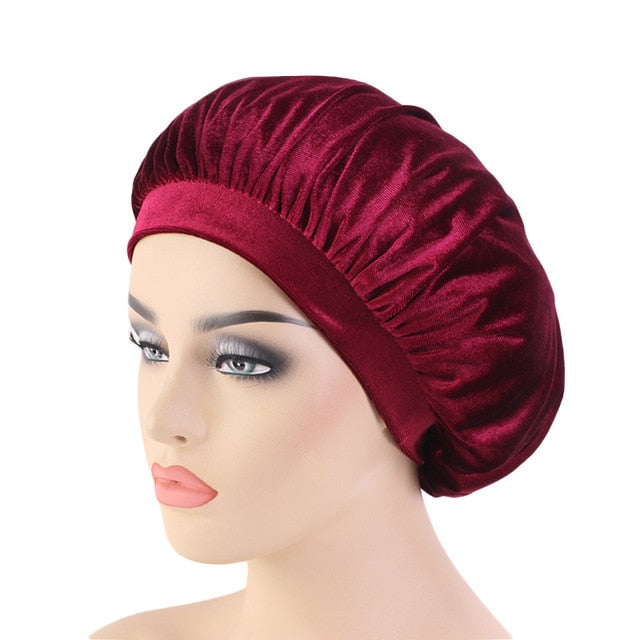 Wine Red Velvet Wide Band Bonnet - Taelor Boutique