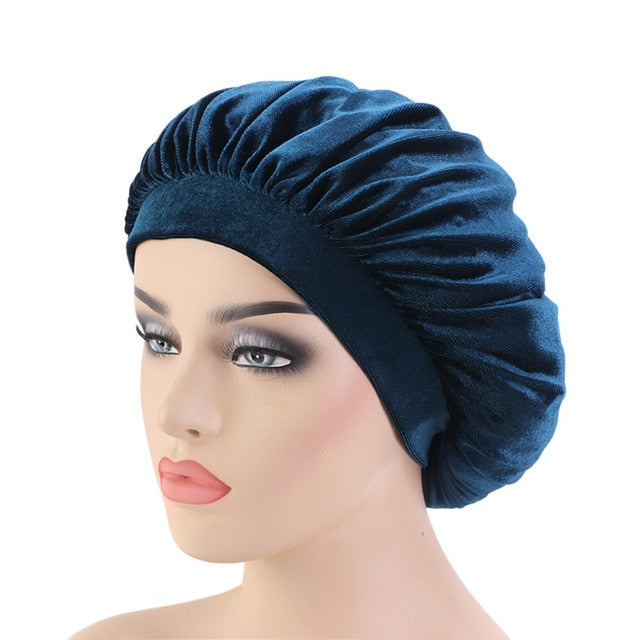 Teal Velvet Bonnet With Velvet Band - Taelor Boutique