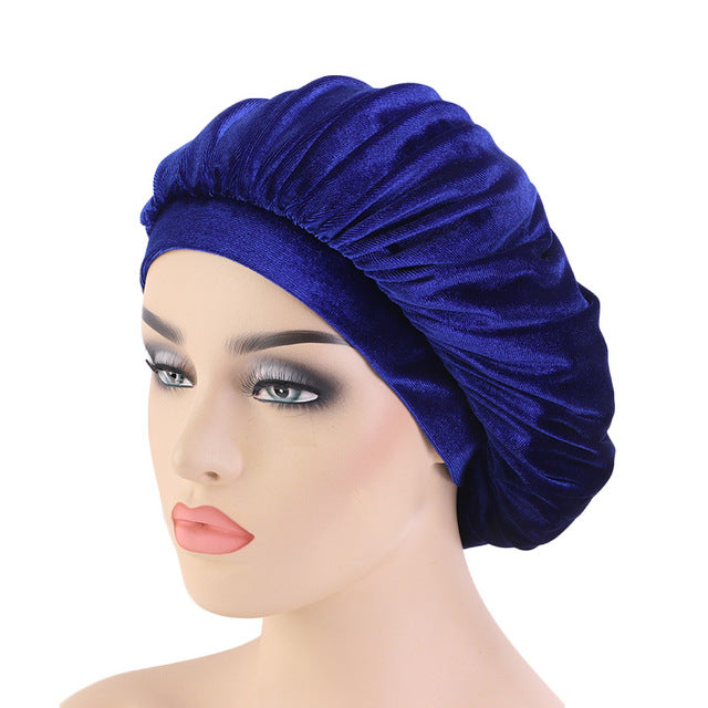 Royal Blue Velvet Wide Band Bonnet - Taelor Boutique