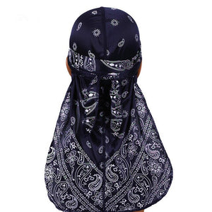 Navy Blue Silky Bandana Durag - Taelor Boutique