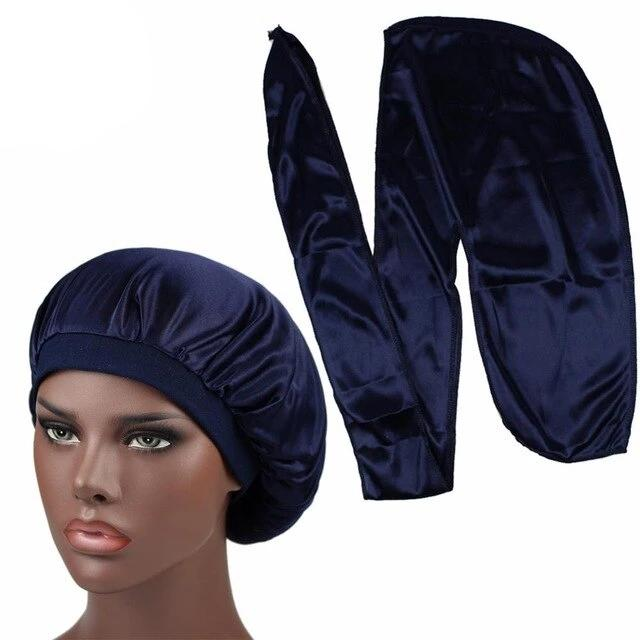 Navy Blue Durag & Wide Band Bonnet Set - Taelor Boutique