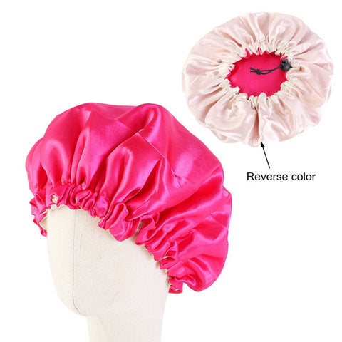 Hot Pink Kids Silk Reversible Bonnet - Taelor Boutique